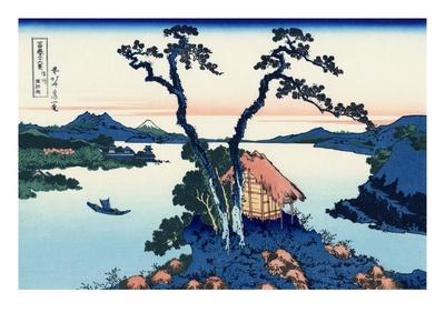 Lake Suwa in the Shinano Province Gicléetryck av Katsushika Hokusai