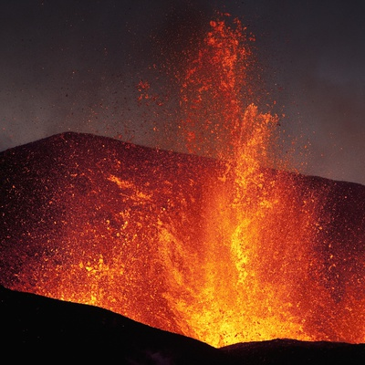 Eruption at Eyjafjallajokull glacier Photographic Print