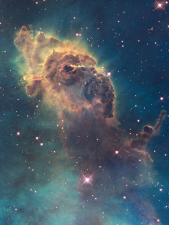 Star birth in carina nebula as viewed by Hubble's WFC3 Detector telescope enhanced astronomy cosmo photo poster