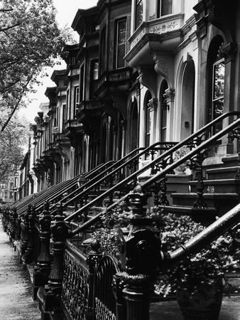 Trapper op til rækkehuse fra 1800-tallet, Brooklyn  Fotografisk tryk af Karen Tweedy-Holmes