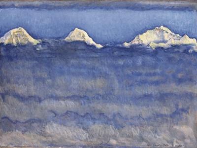 The Eiger, Monch and Jungfrau Peaks Above the Foggy Sea Fotoprint av Ferdinand Hodler