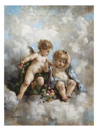 Cherubs in the Clouds Premium Giclee Print by Charles Lutyens