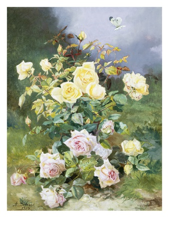 A Still Life of Pink and Yellow Roses Premium Giclee Print by Alexandre Debrus