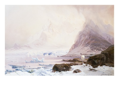 Summer Night at Smeerenberg, Norway Premium Giclee Print by Franz Wilhelm Schiertz