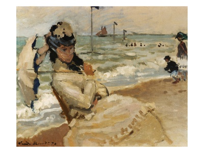 Camille [Monet] on the Beach, Trouville Premium Giclee Print by Claude Monet