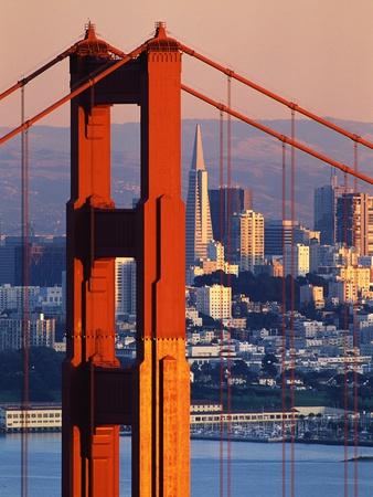 Golden Gate Bridge and San Francisco Skyline Photographic Print by Paul Souders