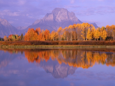 Oxbow Bend Reflecting Mount Moran Photographie