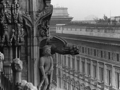 Sculpture Detail on Exterior of Il Duomo Photographic Print by Karen Tweedy-Holmes