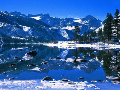 Winter Lodge in Sierra Nevada Photographic Print by Mick Roessler
