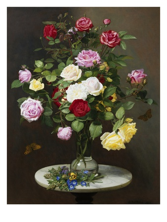 A Still Life with Roses in a Glass Vase Premium Giclee Print by Otto Diderich Ottesen