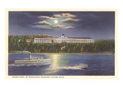 Moon over Grand Hotel, Mackinac Island, Michigan Print