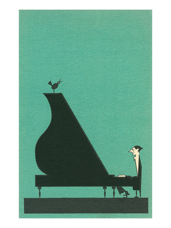 Cartoon pianist Premium Poster