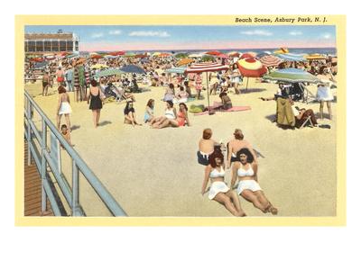 Beach Scene, Asbury Park, New Jersey Print