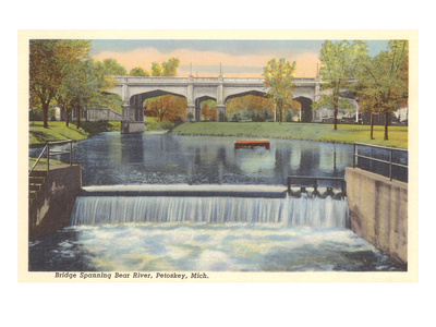Bridge over Bear River, Petoskey, Michigan Posters
