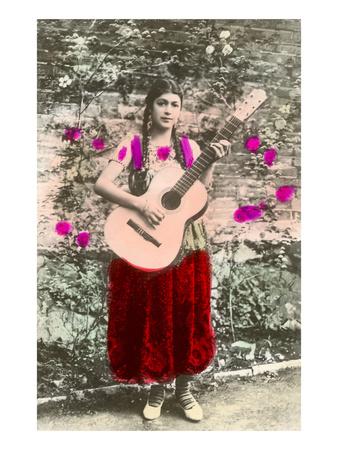 Senorita with Guitar Prints