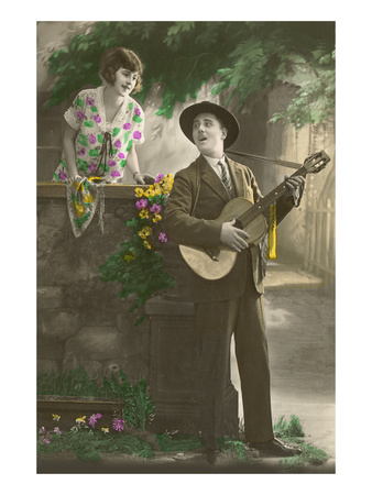 Man Serenading with Guitar Prints