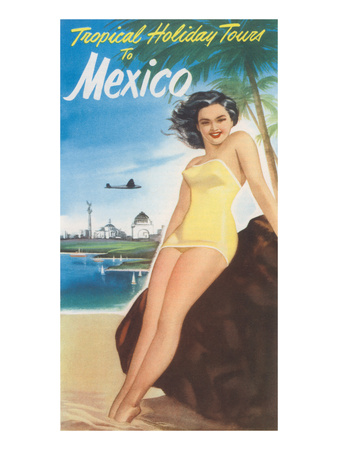Travel Poster of Mexican Beach Premium Poster