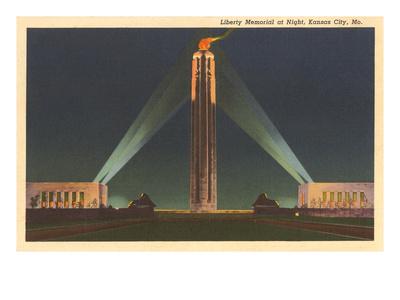 Night, Liberty Memorial, Kansas City, Missouri Prints