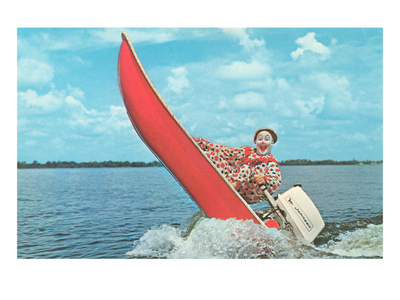 Clown Wind Surfing with Outboard Premium Poster