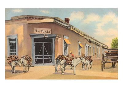 Burros with Firewood, La Fonda, Santa Fe, New Mexico Poster
