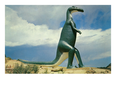 Duck-Billed Dinosaur, Retro Art