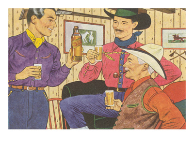 Cowboys Drinking Whiskey Posters