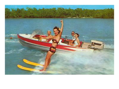 Waterskiing on the Lake, Retro Prints
