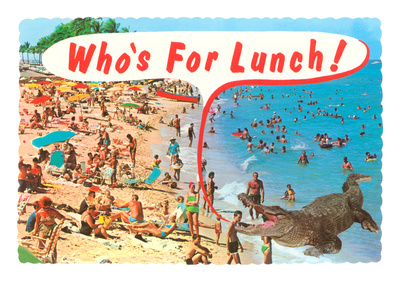 Who's for Lunch, Giant Alligator at Beach Premium Poster