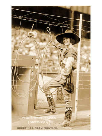 Greetings from Montana, Cowgirl Trick Roper Premium Poster