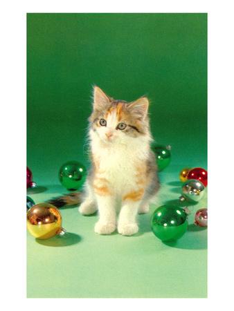 Kitten with Christmas Bulbs, Retro Prints