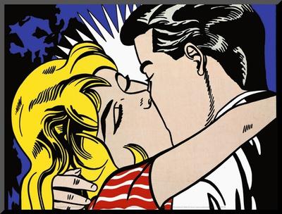 Kiss II, c.1962 Mounted Print by Roy Lichtenstein