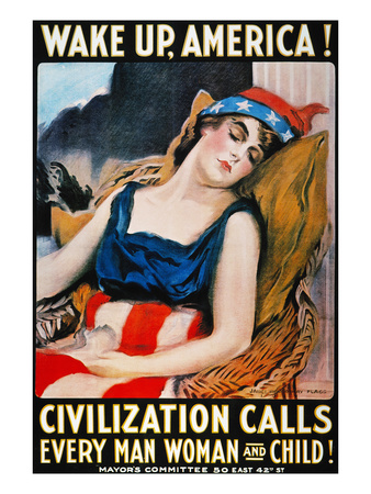 'Wake Up America' Poster Premium Giclee Print by James Montgomery Flagg