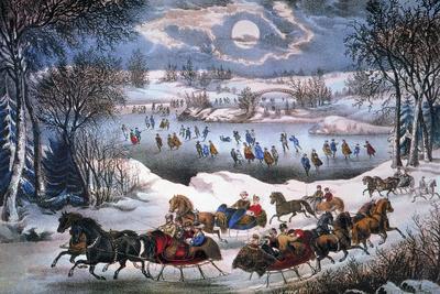 New York: Central Park Giclée-tryk af Currier & Ives,