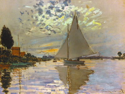 Sailboat artwork summer scenes art print by Claude Monet