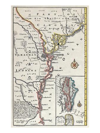 Map: North America, C1700 Premium Giclee Print