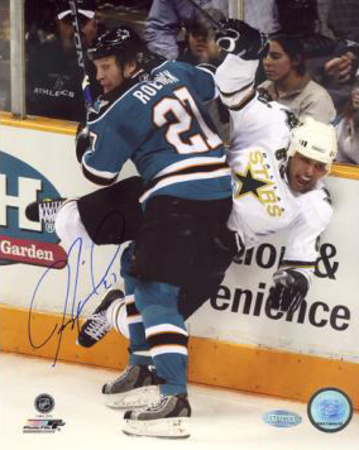 Jeremy Roenick San Jose Sharks Checking Autographed Photo (Hand Signed Collectable) Photo