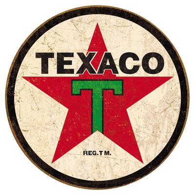 Texaco '36 Round Blikskilt