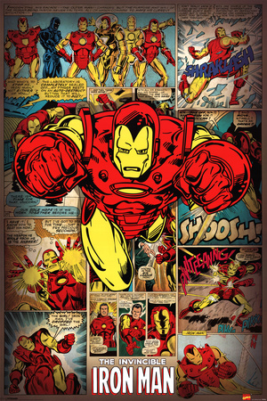 Marvel Comics-Iron Man-Retro Affiche