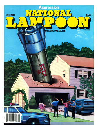 National Lampoon, October 1980 - Agression Rocket Missile Lands in Garage Art Print