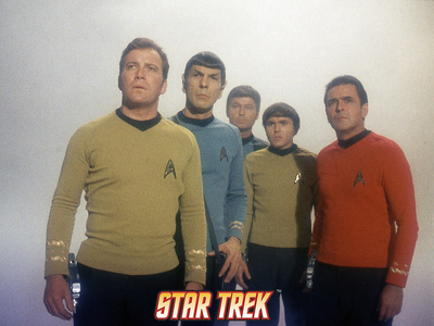 Star Trek: The Original Series, Captain Kirk, Mr. Spock, Dr. McCoy, Chekov and Scotty Premium Poster