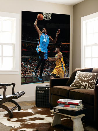 Oklahoma City Thunder v New Orleans Hornets: Kevin Durant and D.J. Mbenga Prints by  Chris
