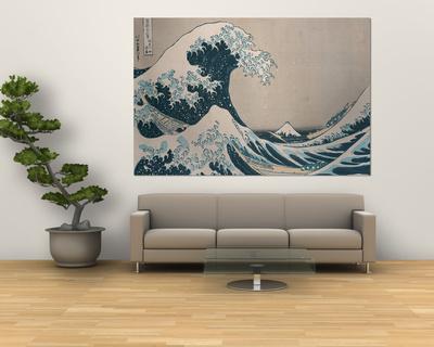 """Velká vlna u pobřeží Kanagawy (ze """"36 pohledů na horu Fudži""""), (""""Fugaku Sandžúrokkei"""") Giant Art Print"""