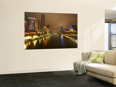 Eureka Tower and Yarra River at Night, Southbank, Melbourne, Victoria, Australia Posters af David Wall