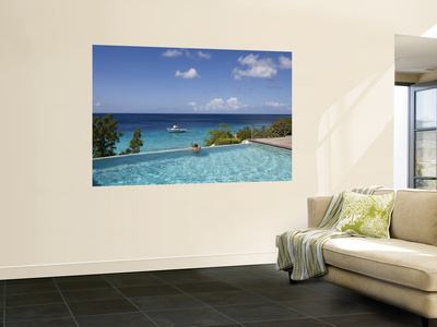 Swimmer in Infinity Pool at Habitat Curacao Dive Resort Near St. Willibrordus Poster by Holger Leue