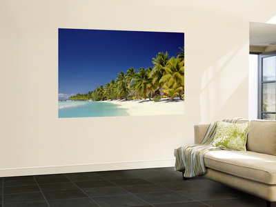 Palm Trees and Tropical Beach, Aitutaki Island, Cook Islands, Polynesia Posters af Steve Vidler