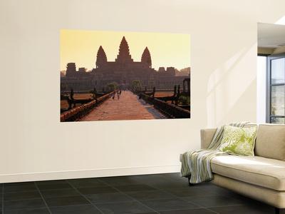 Angkor Wat Silhouetted Against a Sunris Kunst af Anders Blomqvist