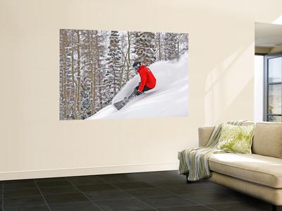 Snowboarder Enjoying Deep Fresh Powder at Brighton Ski Resort Plakater af Paul Kennedy