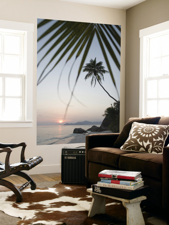 Coconut Tree Sunset Silhouette at Pte. Source D'Argent Posters by Holger Leue