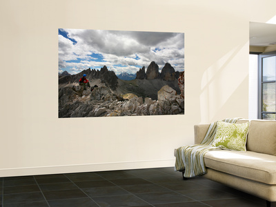 """Climber on """"Cima Dei Scarperi"""" Peak Looking Out to Paterno Peaks Prints by Ruth Eastham & Max Paoli"""