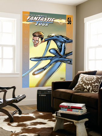 Ultimate Fantastic Four #56 Cover: Mr. Fantastic Fighting Laminated Oversized Art